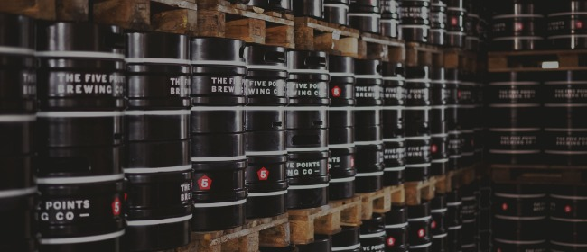 Rows of kegs at The Five Points Brewing Company warehouse on Mare Street, Hackney
