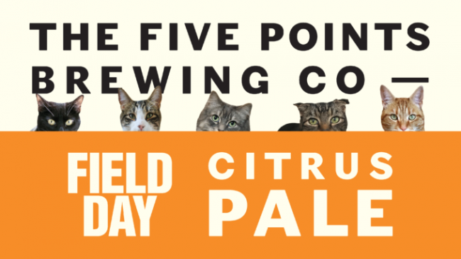 The logo for Five Points Field Day Citrus Pale with all five cats