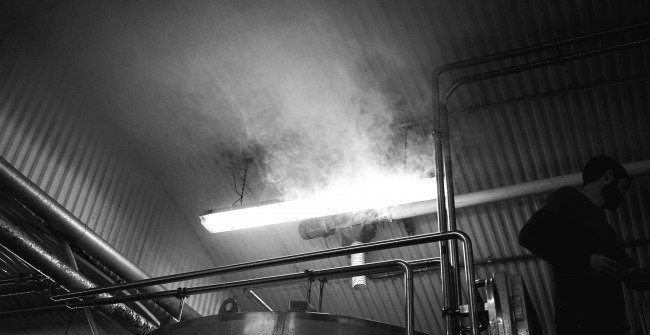 Steam rising in the brewery arch at The Five Points Brewing Company