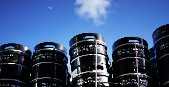 A stack of kegs at The Five Points Brewing Company, Hackney Downs
