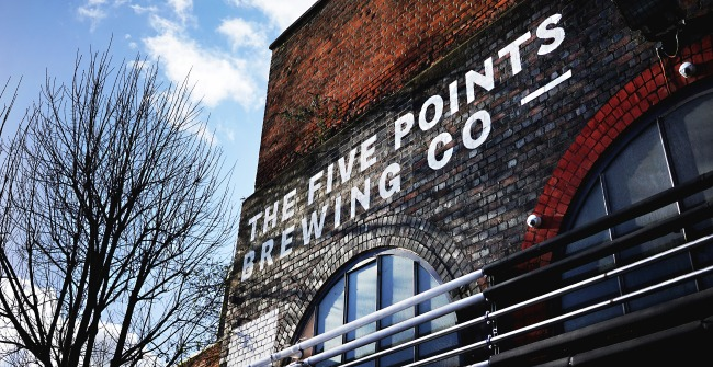 The exterior of The Five Points Brewing Company, outside Hackney Downs station in East London