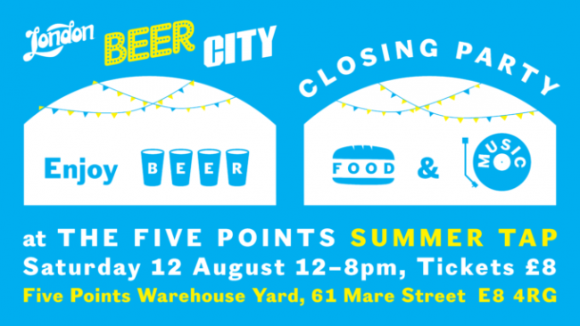 A flyer for the London Beer City Closing Party