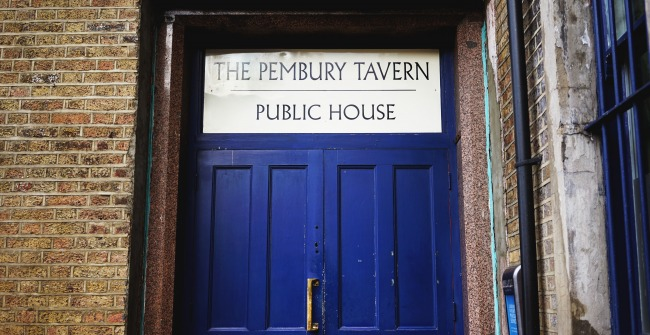 The doors to The Pembury Tavern, The Five Points' pub in Hackney Central, East London