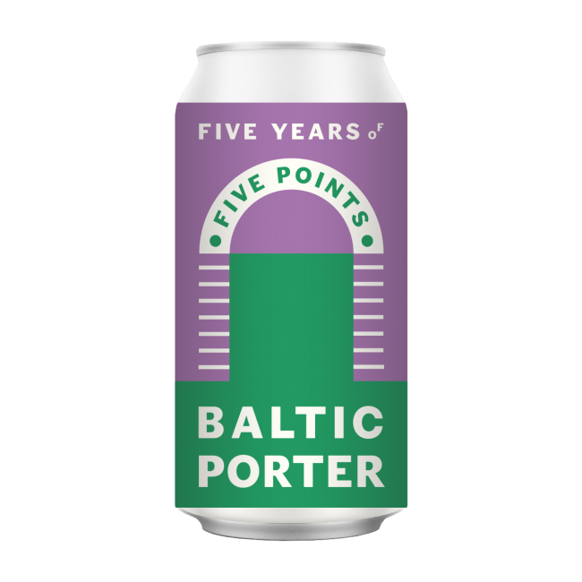 An illustration of a can of Five Points Baltic Porter