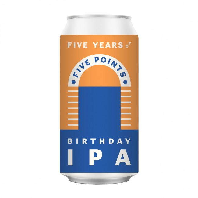 An illustration of a Five Points Birthday IPA beer can