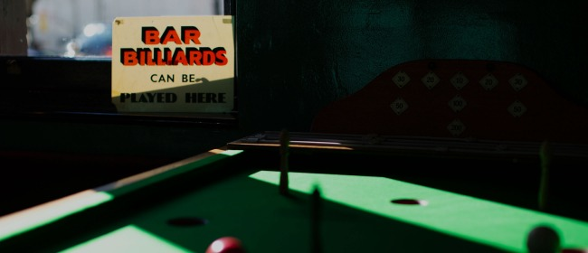 Sunlight and shade on the bar billiards table at The Pembury Tavern